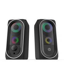 HP Haut-parleur stéréo 2.0 avec rétro-éclairage RGB, Bluetooth, prise 3.5mm