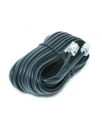 Câble téléphonique, fiche modulaire @ fiche modulaire, 25 pieds, noir