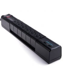 Barre d'alimentation 6 prises 2 PORT USB corde de 6' noir