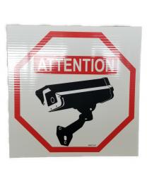 Pancarte : ATTENTION Cette propriété est protégée par un SYSTÈME DE CAMÉRA