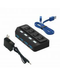 Tumao 4 ports USB 3.0 SuperSpeed hub avec 5 V 2 A adaptateur d'alimentation