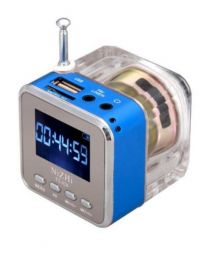 Mini radio portatif avec entré USB et Micro SD, affiche l'heure.