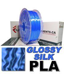 Filament pour imprimante 3D PLA 1,75MM Glossy SILK Bleu Bobine de 2LB